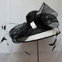 Black and Cream Ascot Hat SN234